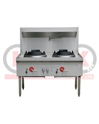 2 BURNER WATERLESS GAS WOK TABLE - CHIMNEY BURNER