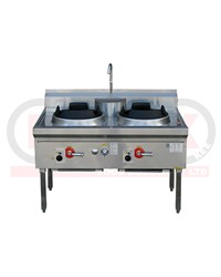 2 BURNER WATERLESS GAS WOK TABLE