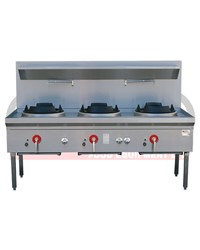 3 BURNER WATERLESS GAS WOK TABLE - CHIMNEY BURNER