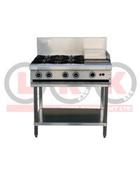 4 GAS OPEN BURNER COOKTOP + 300mm RIGHT GRIDDLE WITH LEGS