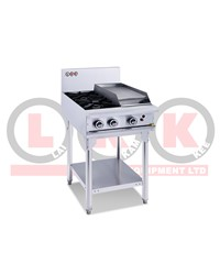 2 GAS OPEN BURNER COOKTOP + 300mm RIGHT GRIDDLE WITH LEGS