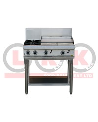 2 GAS OPEN BURNER COOKTOP + 600mm GAS GRIDDLE WITH LEGS