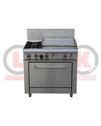 2 GAS OPEN BURNERS + 600mm GAS GRIDDLE + STD OVEN